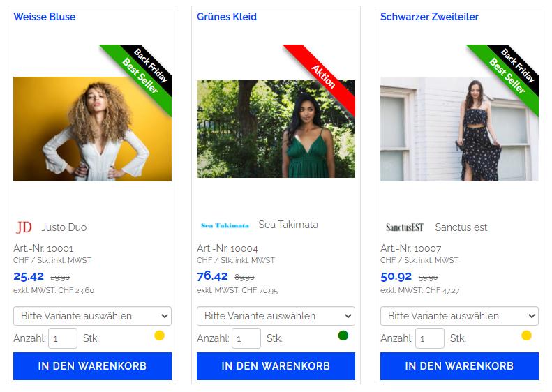 Onlineshop Produktflaggen