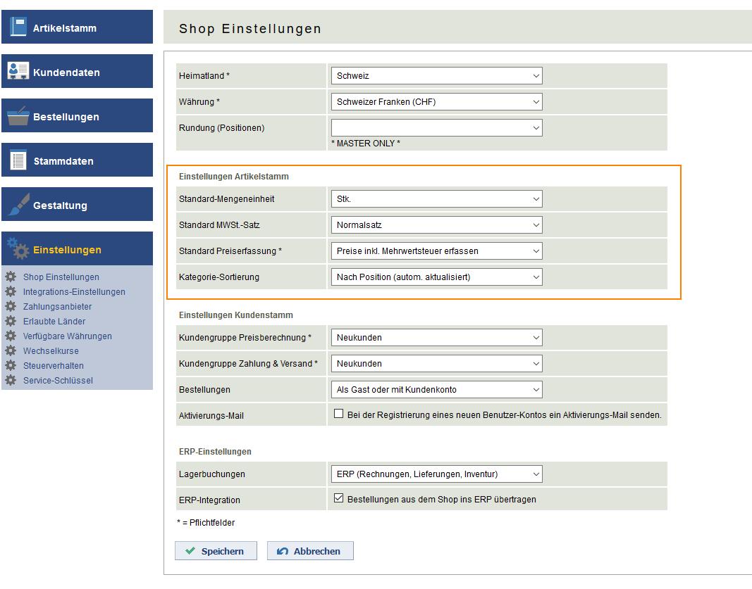 Mehrwertsteuersätze in Webshop Software Rent-a-Shop
