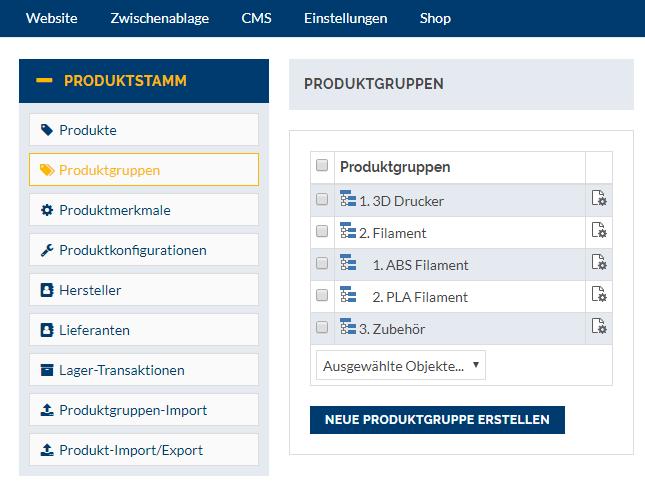 Webshop Produktkategorien